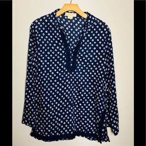 💙Michael Kors Navy and White Blouse